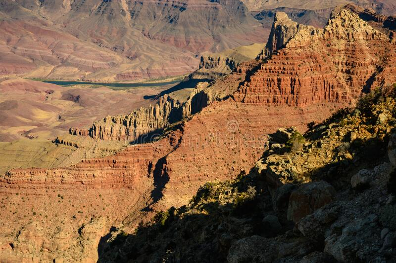 Grand Canyon sunrise with beautiful colours. In USA stock photography