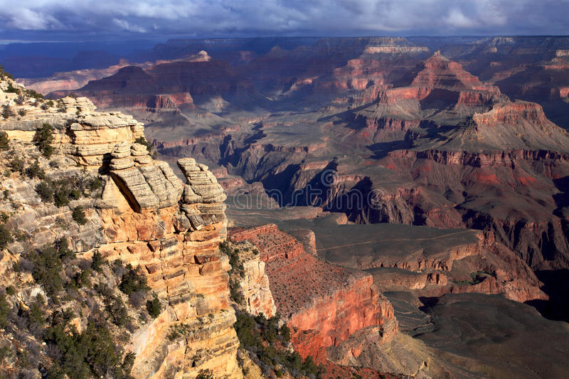 Grand Canyon at sunset. Aerial view of the Grand Canyon at Yavapai Point stock images