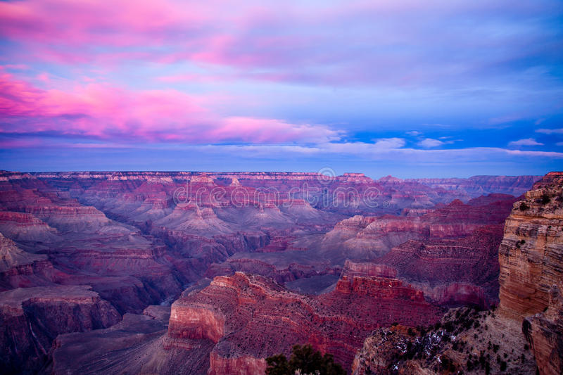 Grand Canyon at sunset. Grand Canyon and the beautiful colors of sunset stock photo