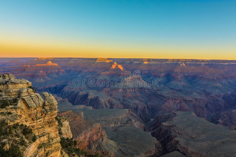 Grand Canyon Sunsrise van Mather Point royalty-vrije stock foto's
