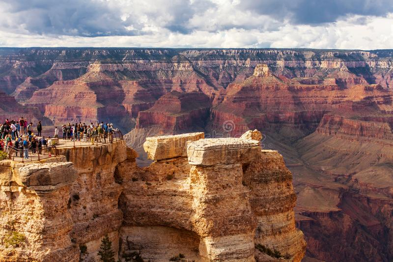 GRAND CANYON, USA - MAY 18, 2016: Scenic view Grand Canyon National Park, Arizona, USA. Tourist people royalty free stock images