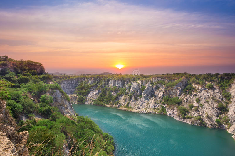 Grand canyon view point at the tourist attraction from the past. Of ore mine at sunrise in Thailand royalty free stock photos