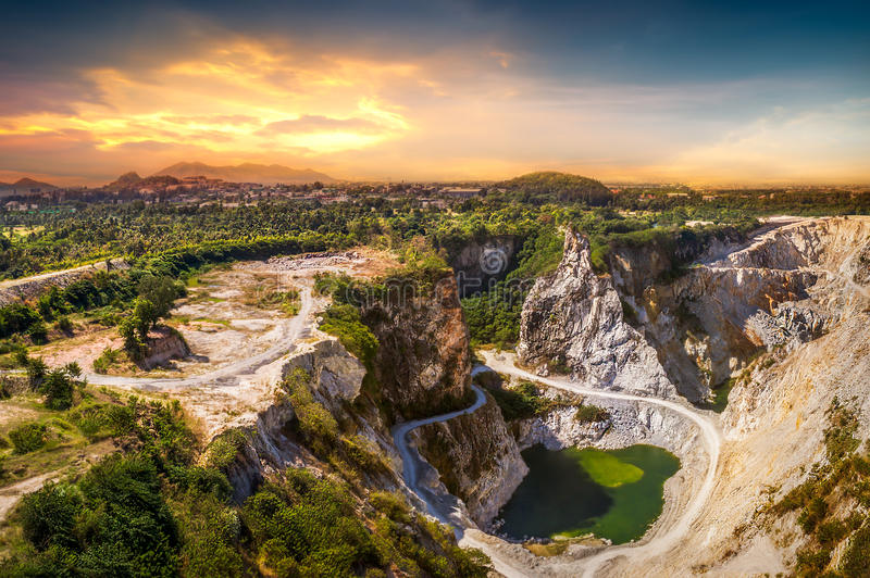 Ore mine. Grand canyon view point at the tourist attraction from the past of ore mine in sunset time royalty free stock photos
