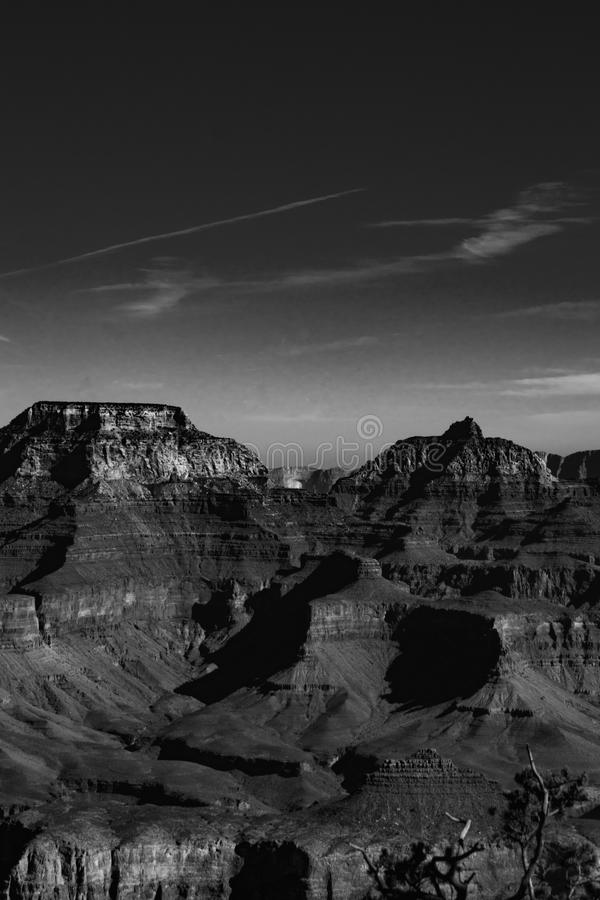 Grand canyon walls in black and white. stock photo
