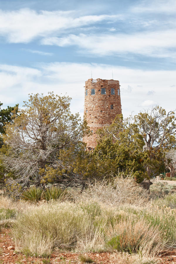 Grand Canyon watch tower. View of the Watch Tower by the Grand Canyon stock photos