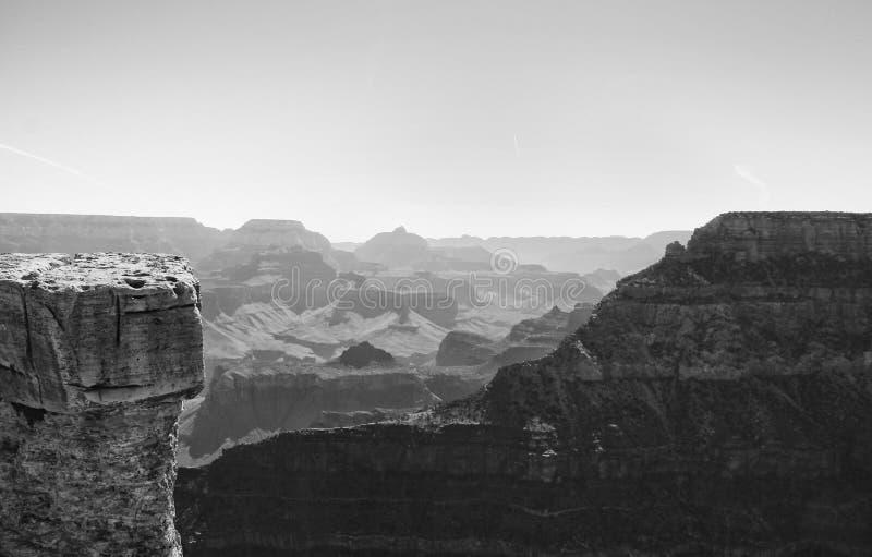 Grand Canyon -Zuiden Rim In Monochrome stock afbeeldingen