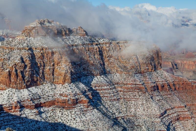 Grand Canyon -Zuiden Rim Winter Snow royalty-vrije stock fotografie