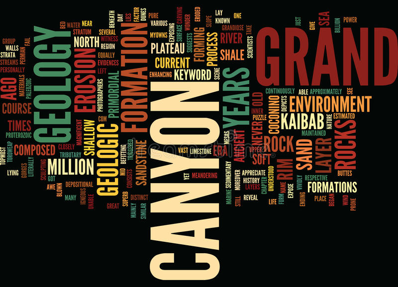 Grand Canyons Geology Word Cloud Concept. Grand Canyons Geology Text Background Word Cloud Concept royalty free illustration