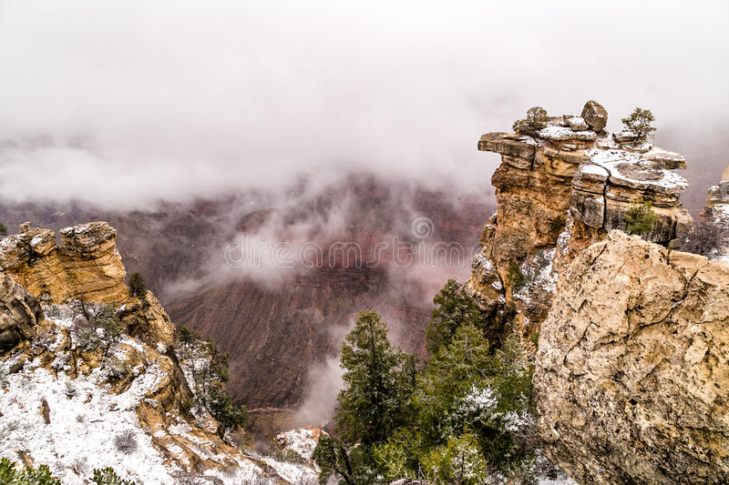 Grand Canyons in snow stock photo