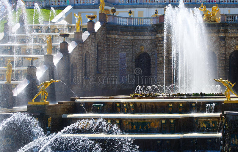 Grand Cascade of fountains in Peterhof stock image