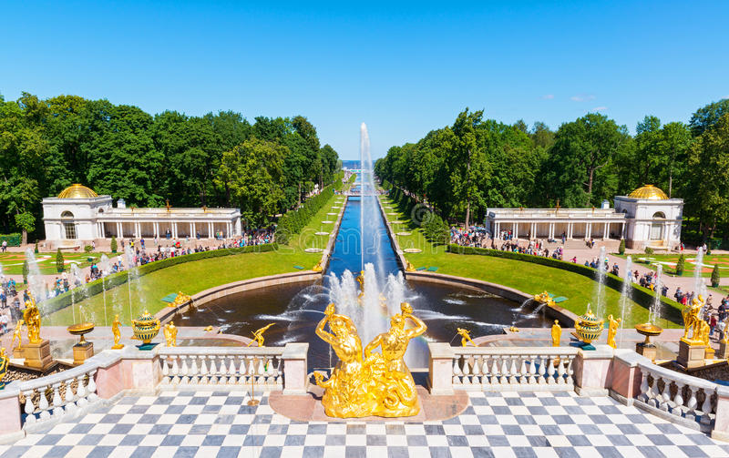 Grand cascade in Peterhof. Saint Petersburg. Russia royalty free stock photography