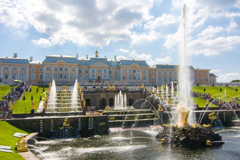 Grand Cascade of Peterhof Palace and Samson fountain, St. Petersburg, Russia stock photo