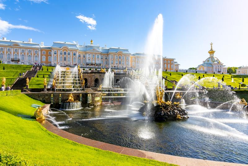Grand Cascade of Peterhof Palace and Samson fountain, St. Petersburg, Russia stock image