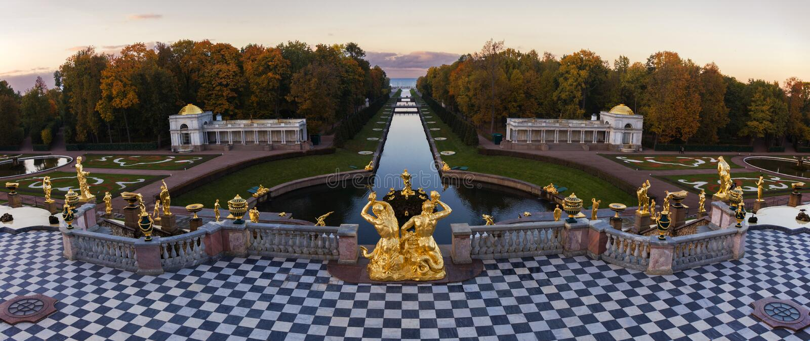 Grand Cascade in Peterhof, St Petersburg royalty free stock images