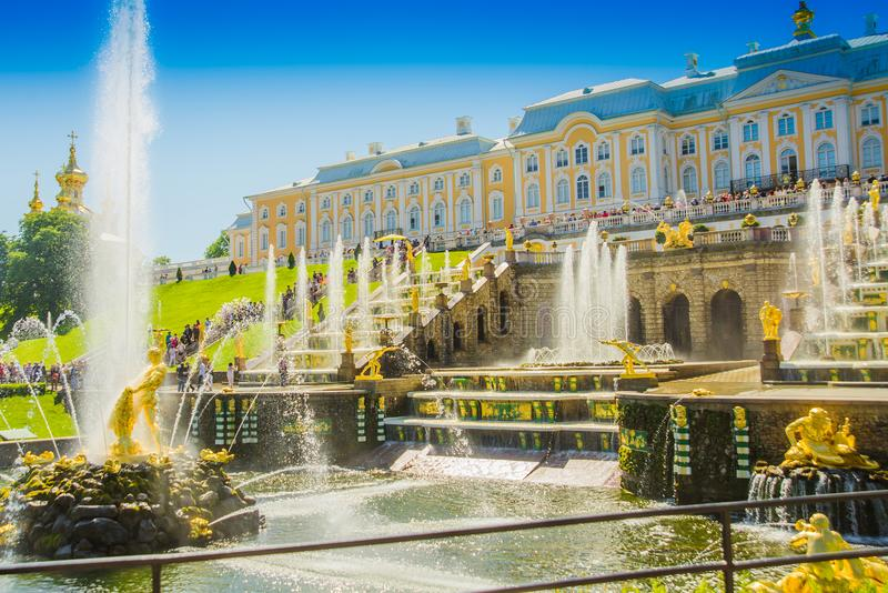 Grand Cascade and Sea Channel in Peterhof Palace. Peterhof, ST PETERSBURG, RUSSIA. stock images