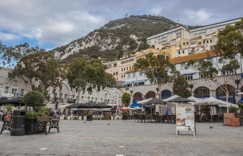 Grand Casemates Square. Landmark lined with numerous pubs, bars and restaurants, Gibraltar, UK. Gibraltar, UK - July 27th 2019: Grand Casemates Square. Landmark stock photography