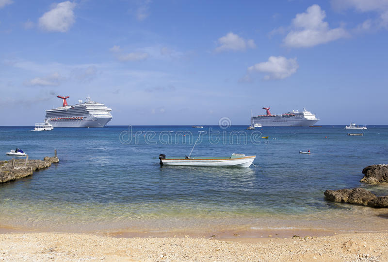 Grand Cayman Boats. Many different size boats around Grand Cayman island (Cayman Islands royalty free stock photo