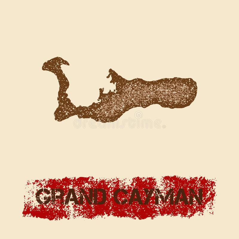 Grand Cayman distressed map. vector illustration
