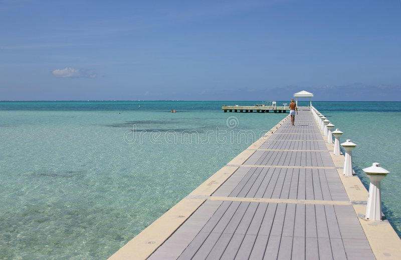 Grand Cayman Island Boardwalk stock photography