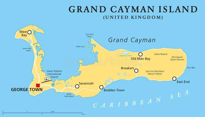 Grand Cayman Island Political Map stock illustration