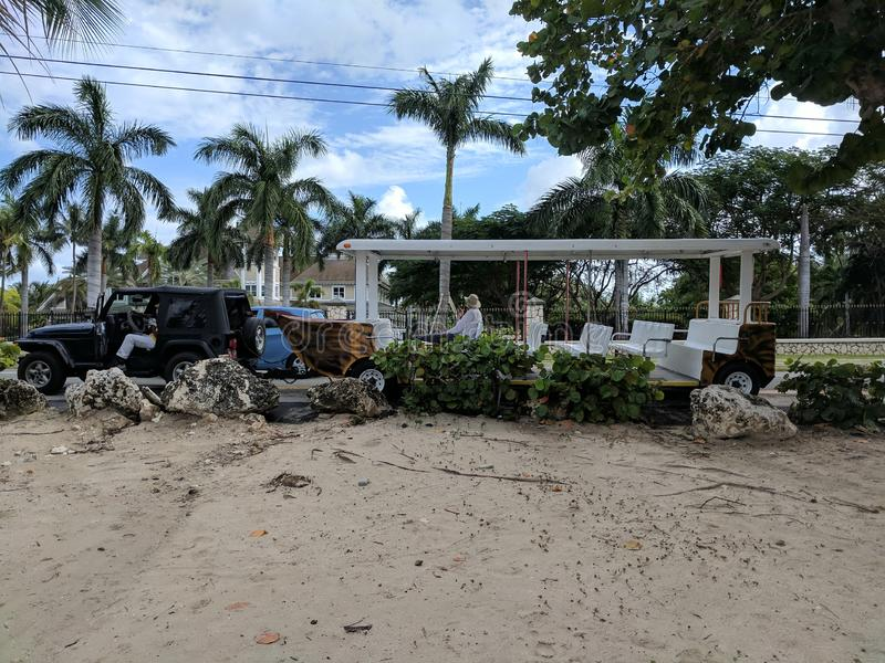 Grand Cayman turnerar bussfartyget som parkeras på stranden royaltyfri foto