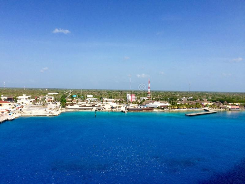 Grand Cayman. View of Grand Cayman from cruise ship stock image