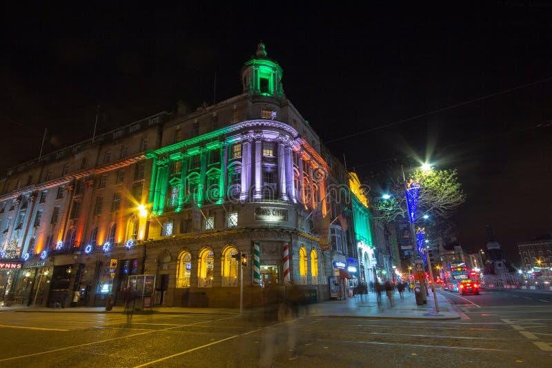 DUBLIN, IRELAND - JANUARY 1, 2017 The Grand Central Bar, New Year`s decoration royalty free stock photography