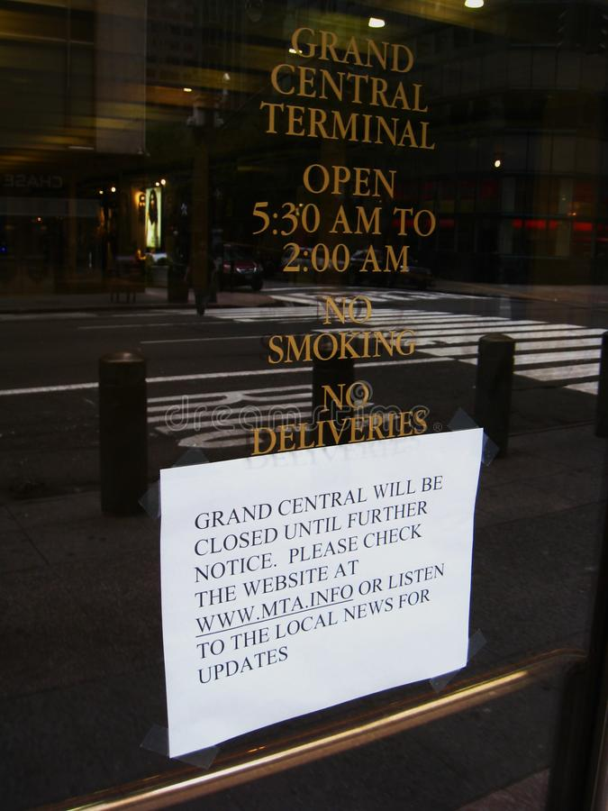 Grand Central closed due to Hurricane Irene. Mass Transit in New York shuts down a busy commuter hub because of Hurricane Irene royalty free stock photo