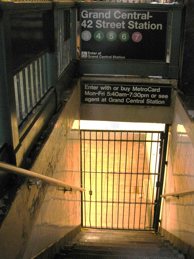 Grand Central closed due to Hurricane Irene. Mass Transit in New York shuts down because of Hurricane Irene stock photography