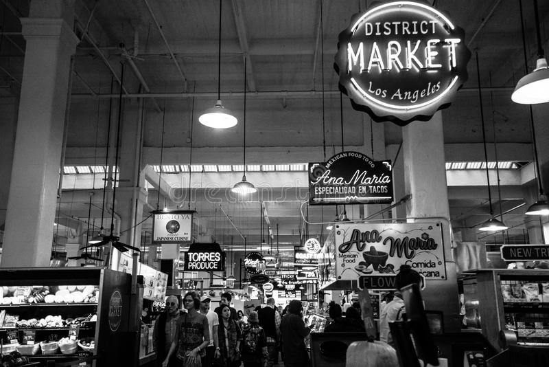 Grand Central Market interior in black & white royalty free stock image