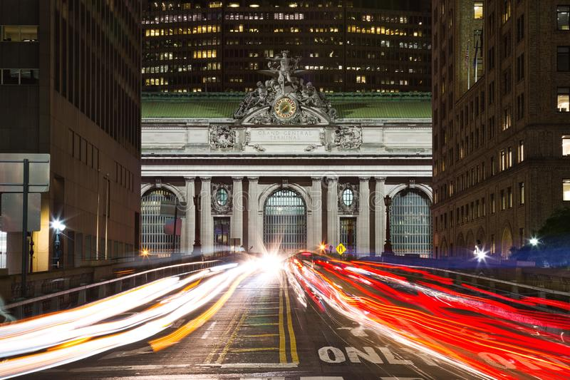 Grand Central on Pershing Square at dusk, New York City. USA royalty free stock photography