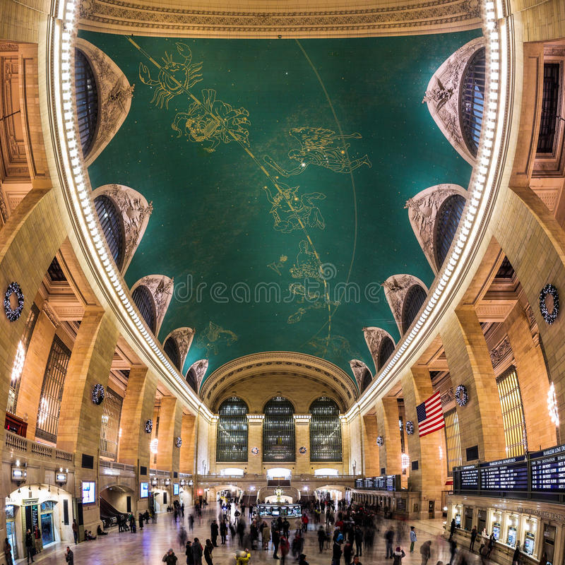 Grand Central Sky. Main Concourse of the Grand Central Terminal railroad station in New York City. The Grand Central Terminal is an iconic landmark, famous for stock photography
