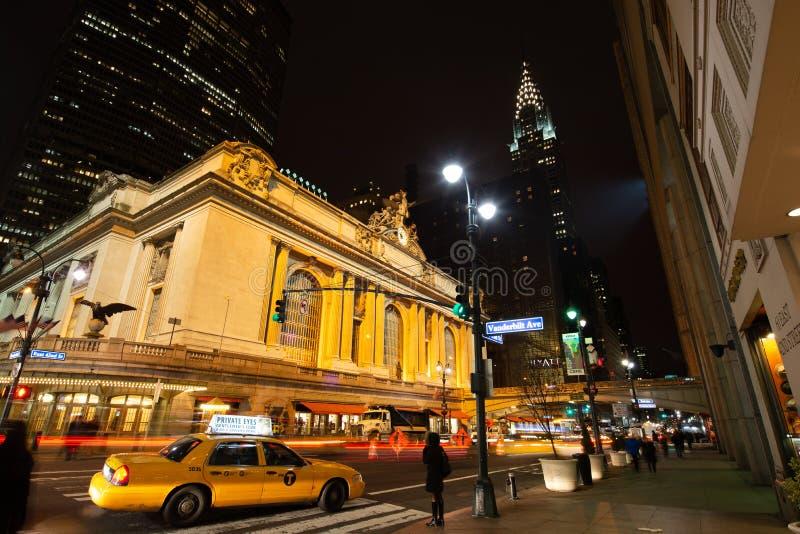 Grand Central stacja i Chrysler budynek przy nocą fotografia royalty free