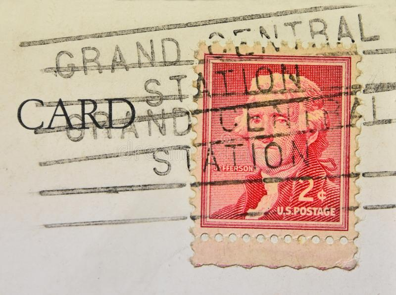 Grand Central Station New York Postmark. A postcard cancellation from Grand Central Train Station in New York City. This image could illustrate travel, tourism royalty free stock photos