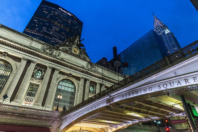 Grand Central Terminal at night in New York City, USA royalty free stock photo