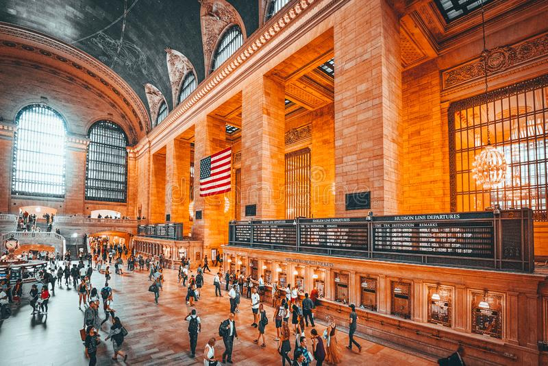 Grand Central Terminal- railroad terminal  in New York City, United States. New York, USA- September 05, 2017 :  Grand Central Terminal- railroad terminal at royalty free stock image