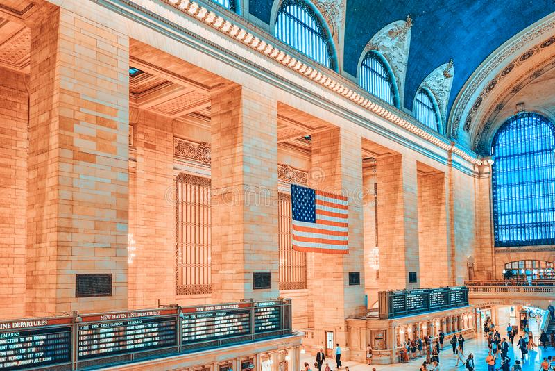 Grand Central Terminal- railroad terminal  in New York City, United States. New York, USA- September 05, 2017 :  Grand Central Terminal- railroad terminal at royalty free stock images