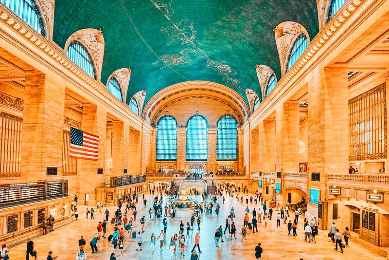 Grand Central Terminal- railroad terminal  in New York City, United States. New York, USA- September 05, 2017 :  Grand Central Terminal- railroad terminal at royalty free stock photography