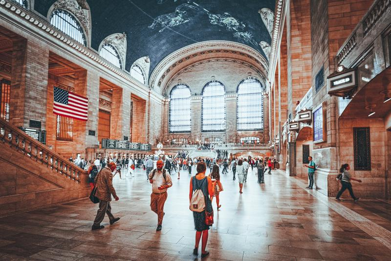 Grand Central Terminal- railroad terminal  in New York City, United States. New York, USA- September 05, 2017 :  Grand Central Terminal- railroad terminal at stock image