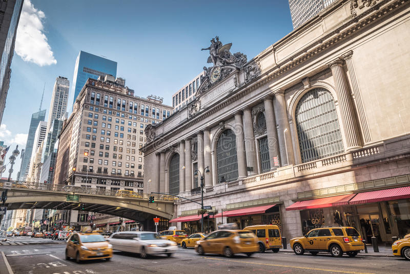 Grand Central Terminal with traffic, New York City stock image