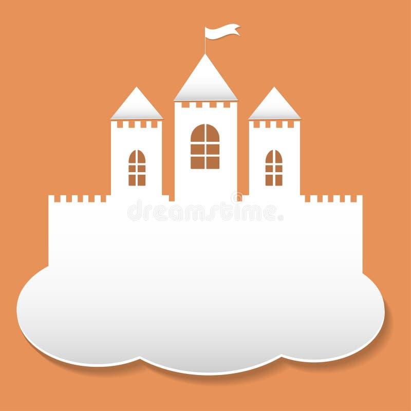 Grand château dans le style de coupe de papier illustration stock