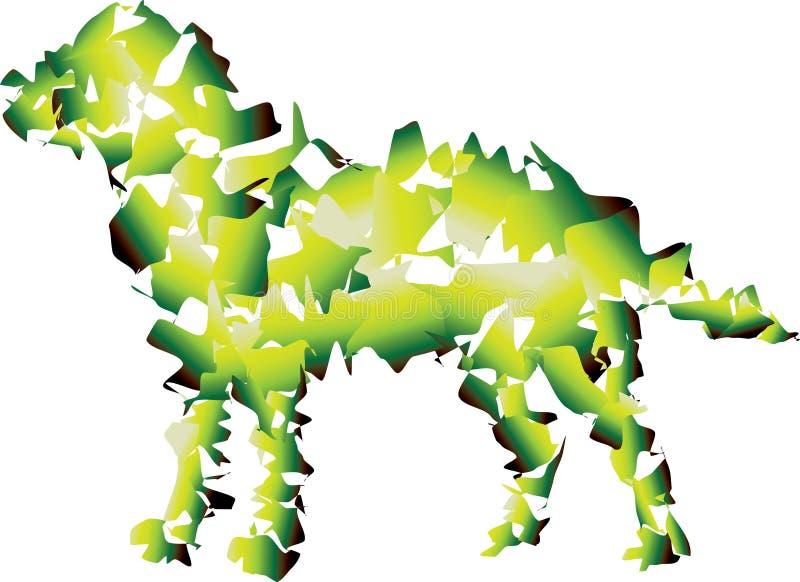 Grand chien lisse Combinaison verte et jaune illustration libre de droits