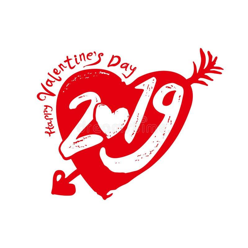 Grand coeur rouge 2019 Calligraphie moderne de la Saint-Valentin 2019 illustration libre de droits
