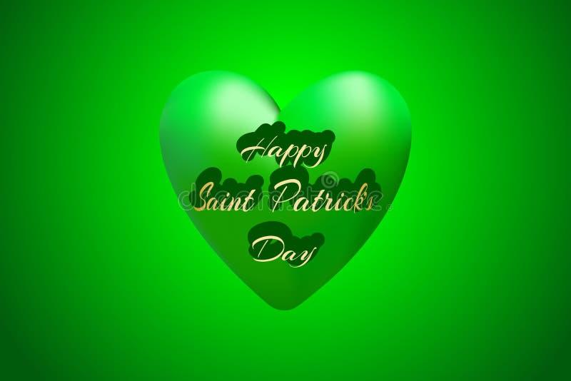 Grand coeur vert comme symbole du jour du ` s de St Patrick Illustration de vecteur pour le saint Patrick Day Greeting Card illustration libre de droits
