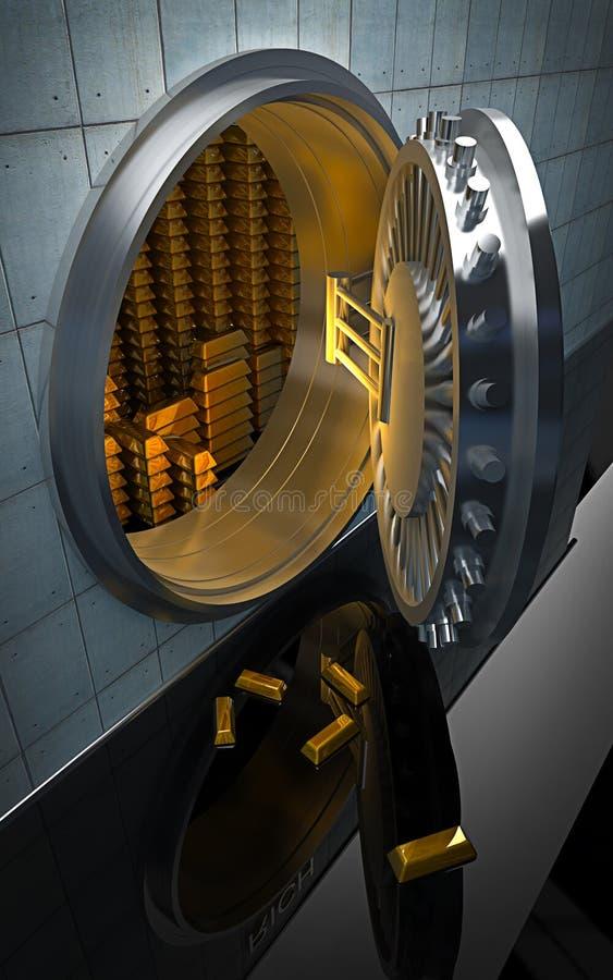 Grand coffre-fort avec les lingots 3D d'or illustration libre de droits