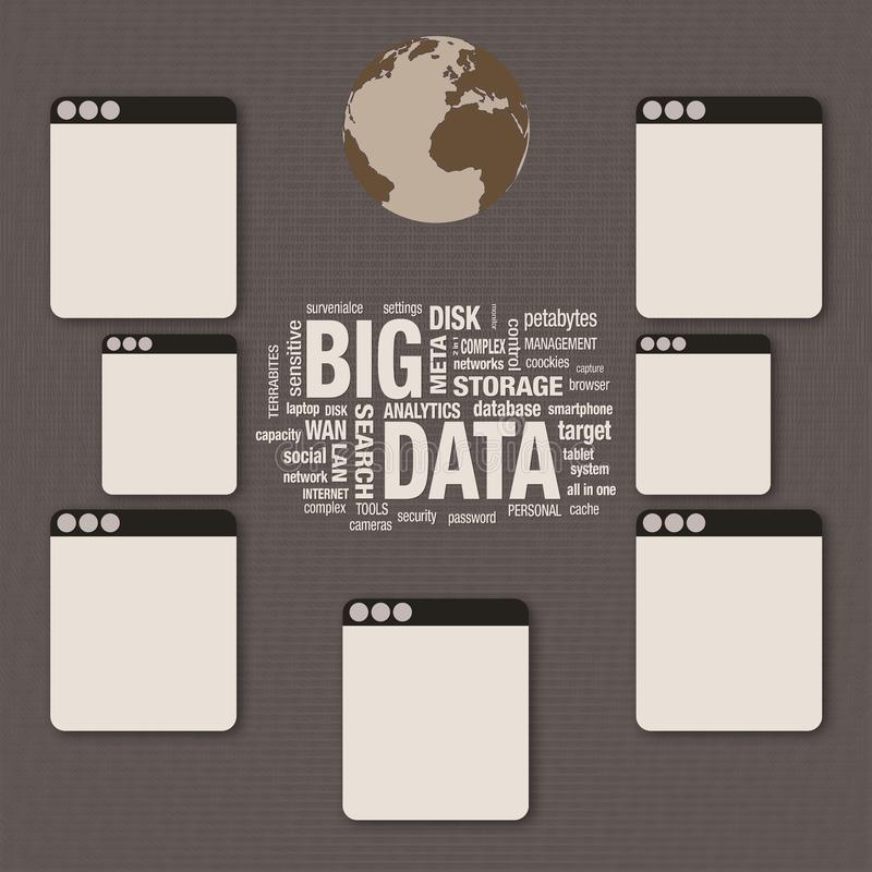 Grand collage de nuage de mot contenant des données, concept de technologie, couche numérique e illustration stock
