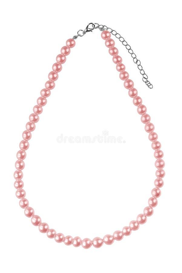 Grand collier élégant rouge pâle fait de perles rondes moyennes comme des perles, article de mode d'isolement sur le fond blanc,  images libres de droits