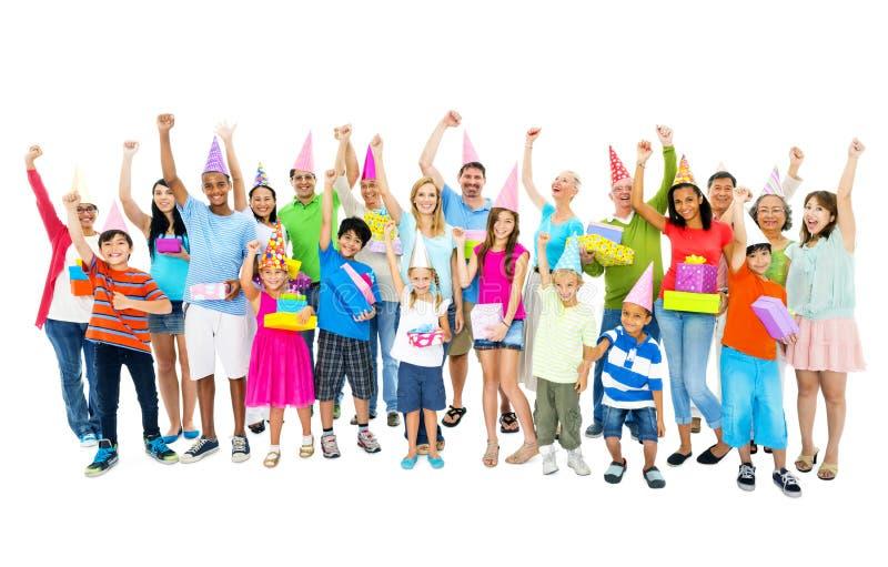 Grand concept de diversité de bonheur de partie de personnes de groupe image libre de droits