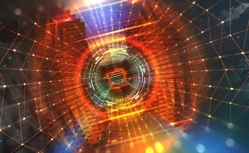 Grand concept de données Écoulement des données numériques dans le réseau global Ordinateur de Quantum Portail de vitesse illustration stock