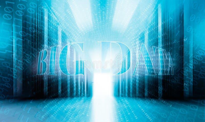 Grand concept de données avec le centre de traitement des données moderne de pièce servenay de fond de code binaire photo stock